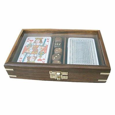 G4684: Cards and Cube - Box with glass lid made of fine Wood with Brass inlay