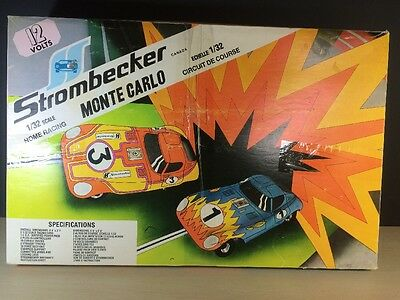 Strombecker Monte Carlo 1960's 1/32 Scale Home Racing Track Set Vintage Slot Car