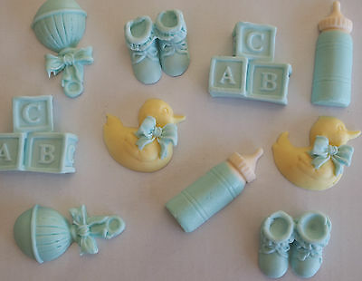 20 Mixed Baby Shower CUPCAKE TOPPERS Edible Christening Cake Decoration CUTE!!