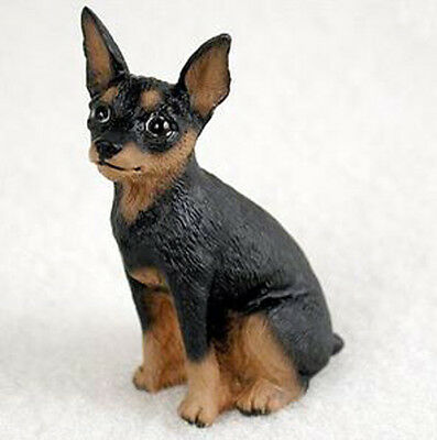 MINIATURE PINSCHER (BLACK TAN) TINY ONES DOG Figurine Statue Resin Pet Lovers