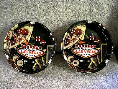 Beautiful - Set Of 2 - Welcome To Fabulous Las Vegas - Ashtrays - Great Gifts!