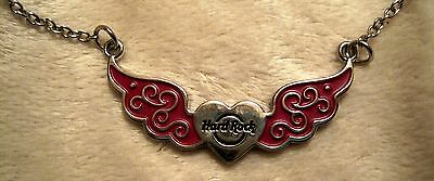 """Rare - Hard Rock Cafe - Heart Logo - Pink Wings - 9"""" Silver Adjustable Necklace!"""