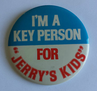 Jerry Lewis MDA Telethon I'm a Key Person For Jerry's Kids 1980s Promo Pinback