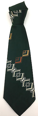 True Vintage Necktie Wide Neck Tie Abstract Diamond Geometric Dark Green Kitsch
