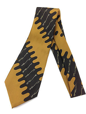 True Vintage Mens Necktie Kipper Wide Neck Tie Jacquard Bronze Abstract Brown