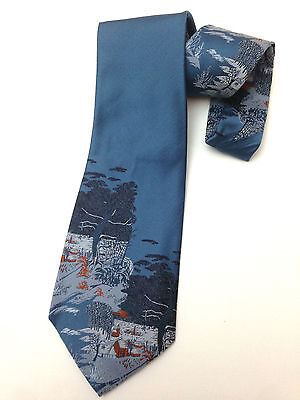 Vintage Necktie Wide Neck Tie Art Deco Cottage River Tree Scenery Jacquard Blue