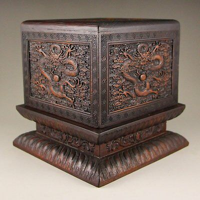 """Vintage Chinese Zitan Wood Seal Box with Dragons & Balls (6"""" x 6"""" x 6"""" in)"""