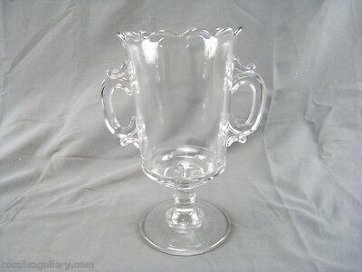 """Vintage Clear Glass 2 Handled """"Loving Cup"""" Compote"""