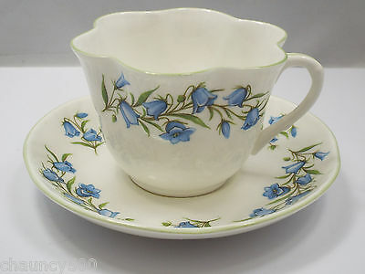Crown Staffordshire Tea Cup & Saucer, Bluebell Pattern Fine Bone China England