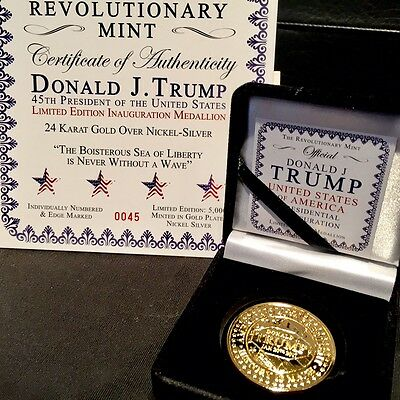 Numbered Ltd Edition 2017 Historic Trump Gold Presidential Inauguration Coin