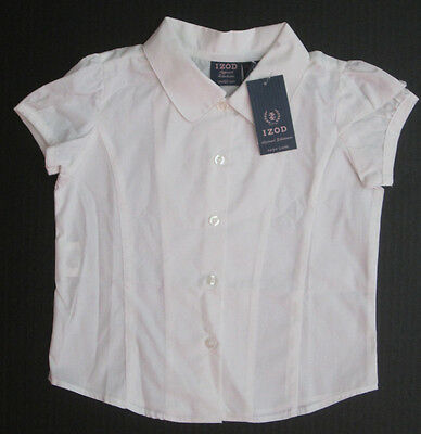 NWT Izod girls white button up uniform shirt size XS 4 5 approved schoolwear NEW
