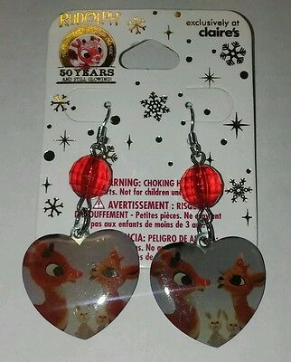 Rudolph the Red Nosed Reindeer hook dangle earrings~Christmas Jewelry