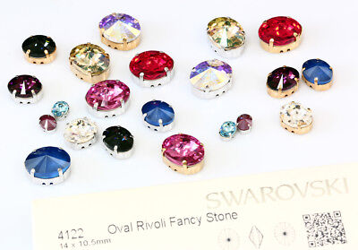 Genuine SWAROVSKI 4122 Oval Rivoli Fancy Crystals with Sew On Metal Settings