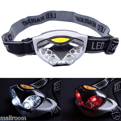 3Modi Super Hell 6 LED Scheinwerfer Taschen Kopflampe Stirnlampe Headlight Torch