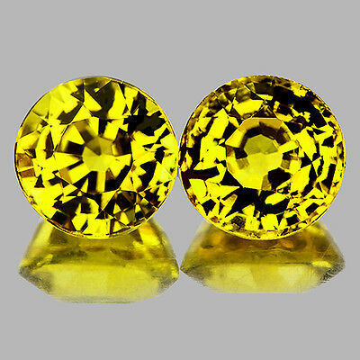 Flawless~ 2 Pcs Round 4.50Mm Best Aaa Canary Yellow Mali Garnet Natural Gemstone
