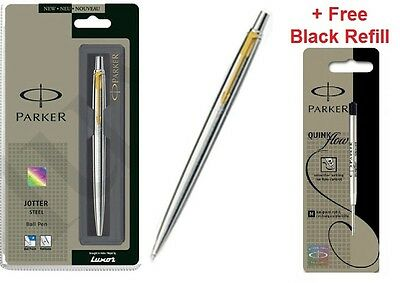 GENUINE PARKER CLASSIC STAINLESS STEEL BALL POINT PEN GT + Free Black Refill
