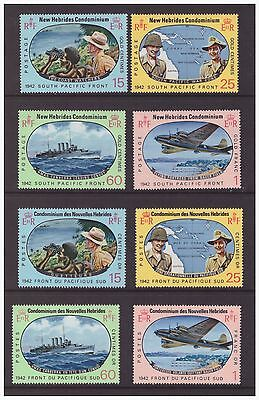 New Hebrides 1967 English,French issues Pacific War Military 2 sets MNH mint