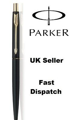 Genuine Parker Classic Matte Black Ball Point Pen - Gold Trim - Gift Box