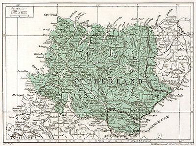 1923 map of Scotland: Sutherland, ready-mounted antique print SUPERB