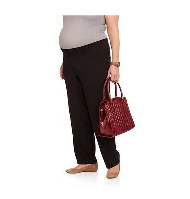Oh! Mamma Maternity Demi-Panel Slim-Leg Career Pants, Black, 3X