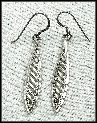 VINTAGE .925 Sterling Silver, Diamond Cut Dangling Leaf Earrings, French Wires