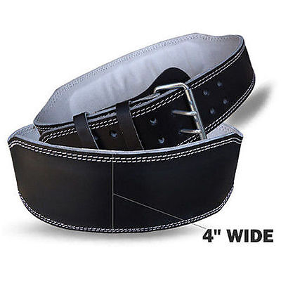 """Weight Lifting Leather Belts 4"""" Wide Training Back Support Gym Fitness Black"""