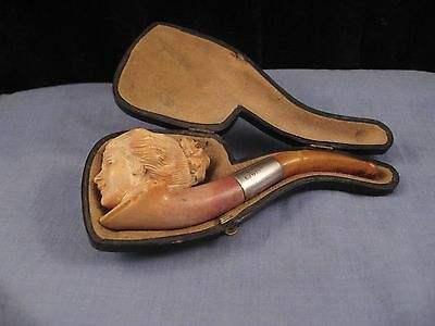 B Wade Silver Antique Meerschaum & Amber Lady Emily Pankhurst Suffragette Pipe