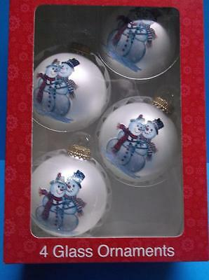 Box of 4 Snowman Couple Glass Christmas Ornaments Artist Signed & CBK Lot of 4