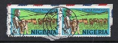 NIGERIA = VARIETY - `Pin Repair & Shading Flaw above RANCH`. Left stamp. Used.