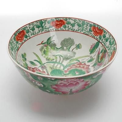 Vintage Hand-Painted Chinese Porcelain Bowl Made In Macau-Lotus & Birds Design
