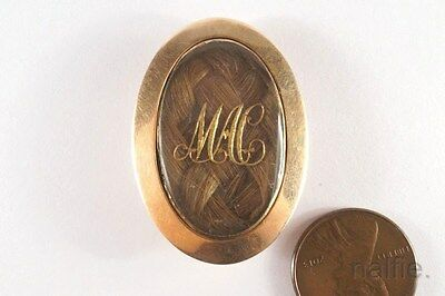 ANTIQUE GEORGIAN 9K GOLD MOURNING BROOCH c1800 'MEMORY of AFFECTIONATE MOTHER'