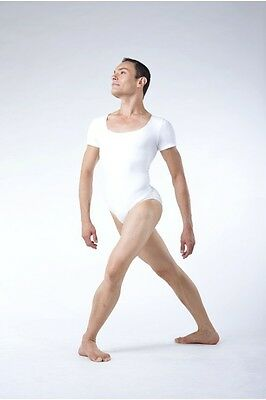 White Papillon men's short sleeve leotard (PM4821) - all sizes