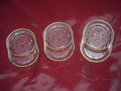 Set Of 3 Small Divided Glass Plates With Gold Colored Rim