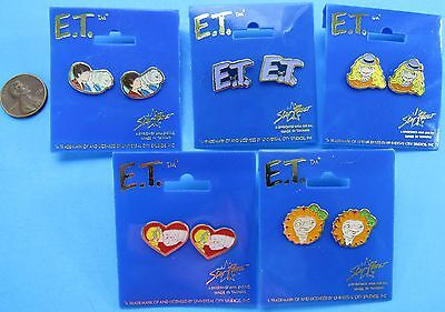 ET the Extra Terrestrial set of 5 metal EARRINGS '82 vintage