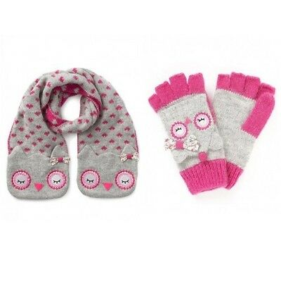 Girls NEW Ex Monsoon Accessorise Fluffy Owl Pocket Scarf Capped Glove  6-8 9-12