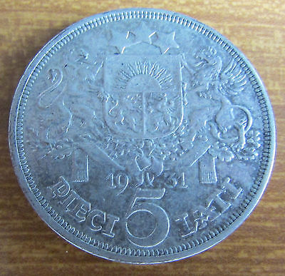 1931 Latvia ex USSR Silver 5 Lati Coin - 2nd Year of Issue out of 3 Years