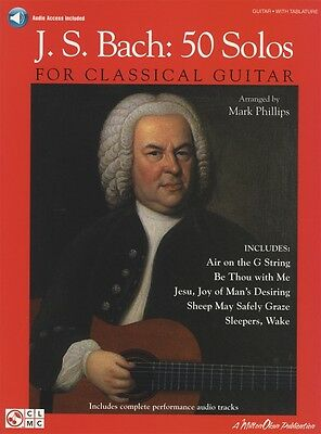 JS Bach 50 Solos for Classical Guitar TAB & Notation Music Book with Audio
