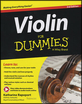 Violin for Dummies Sheet Music Book/DLC 3rd Edition Method Learn How To Play