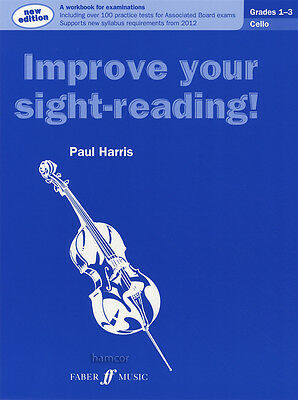 Improve Your Sight-Reading Cello Grades 1-3 Sheet Music Book Paul Harris