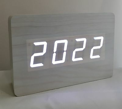 Block - The Wooden LED Clock - White with White LED