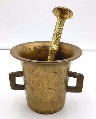 "ANTIQUE 19th CENTURY SOLID BRASS APOTHECARY 4-3/8"" MORTAR & PESTLE"