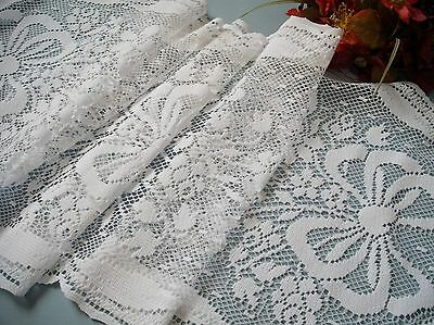 """Vintage French style lace 51"""" long Runner roses and ribbon"""