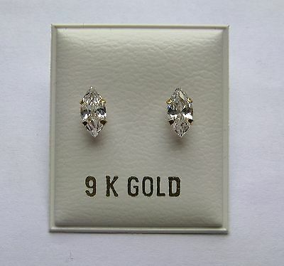 4mm x 8mm Cubic Zirconia Marquise cut 9Ct Gold Stud Earrings