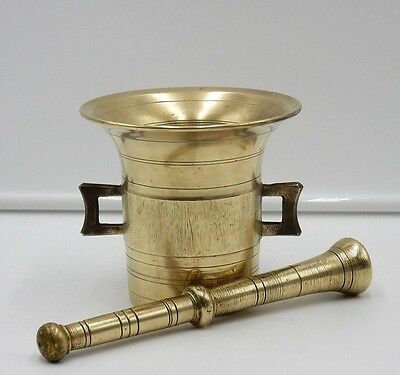 "ANTIQUE 19th CENTURY SOLID BRASS APOTHECARY 5"" TALL MORTAR & PESTLE #7"