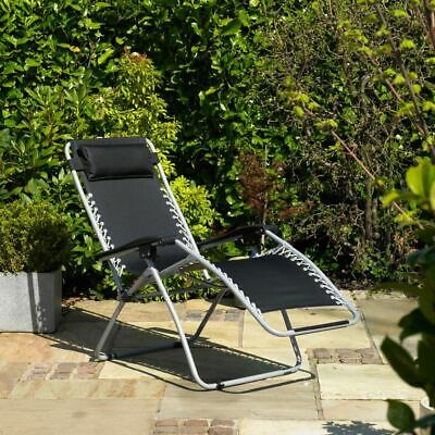 Reclining Sun Lounger Outdoor Garden Patio Gravity Chair Adjustable Head Wido