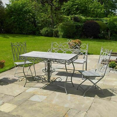 4Pc Garden Patio Furniture Set Outdoor Dining Bench Table Chairs Grey Vintage