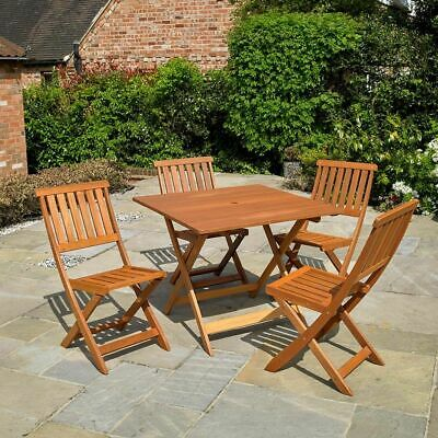 Wido 4 SEATER WOODEN FURNITURE SET OUTDOOR PATIO DINING FOLDING TABLE & CHAIRS