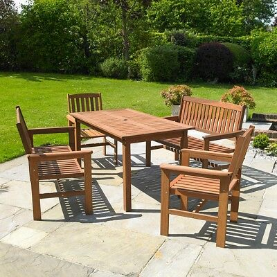 5Pc Wooden Garden Dining Furniture Set Outdoor Bench Table & Chairs Hardwood