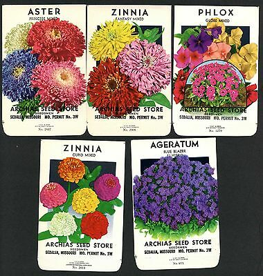 Set of 5 Different Vintage Seed Packets, Country Store, Sedalia, Missouri 168