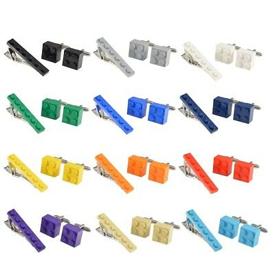 LEGO® BRICK Novelty Cufflinks and Tie Pin Slide Clip Set Ideal Wedding Mens Gift